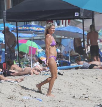 Ali Larter - On The Beach In A Purple Bikini (8/14/18)